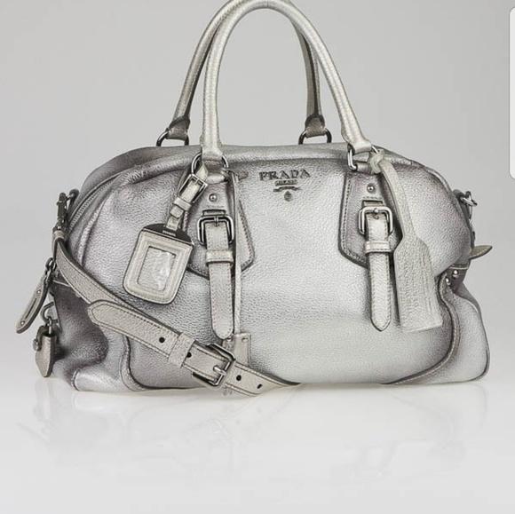 6a217c21da5a Prada Bags | Authentic Metallic Silver Cervo Leather Bag | Poshmark